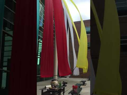 Colorful Banner Installation by Joan Farrenkopf.