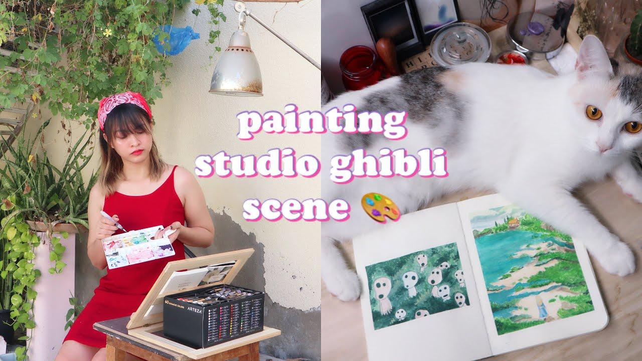 painting studio ghibli scene | paint with me | joy marino