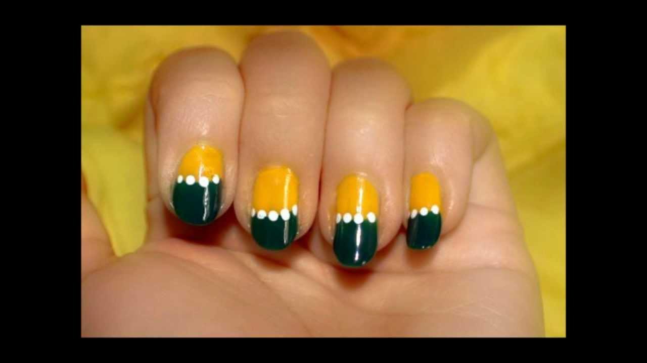 Bright Yellow and Dark Green Half Moons Nail - YouTube
