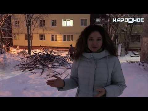 В Апатитах у дома на Космонавтов  рухнули строительные леса