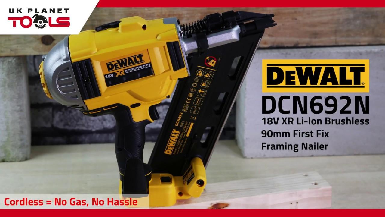 Dewalt DCN692N 18V XR Li-ion Brushless 90mm First Fix Framing Nailer ...