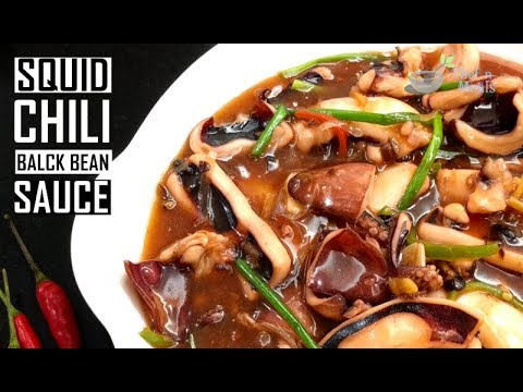 Squid in chili and black bean sauce