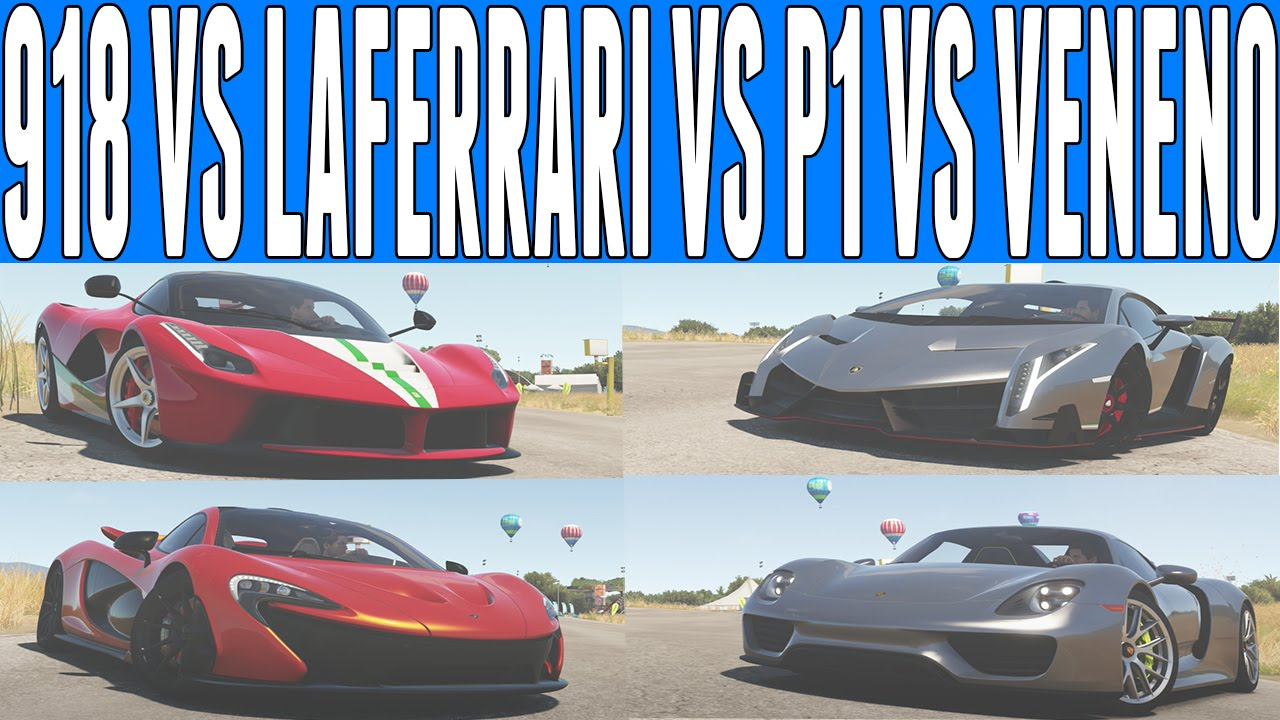 forza horizon 2 versus porsche 918 spyder vs mclaren p1 vs ferrari laferrari vs lamborghini. Black Bedroom Furniture Sets. Home Design Ideas
