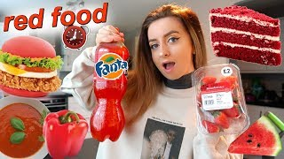 i only ate RED food for 24 hours challenge!