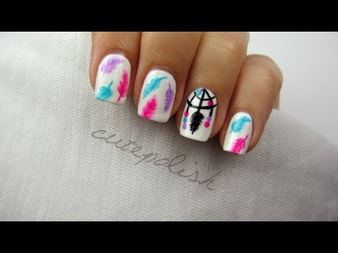 Dreamcatcher Nail Art - Dreamcatcher Nail Art - YouTube