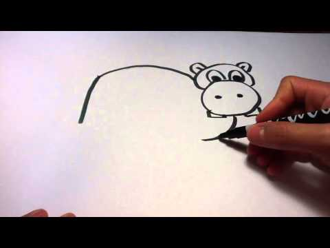 Dessiner un hippopotame - Dessin de cartoon