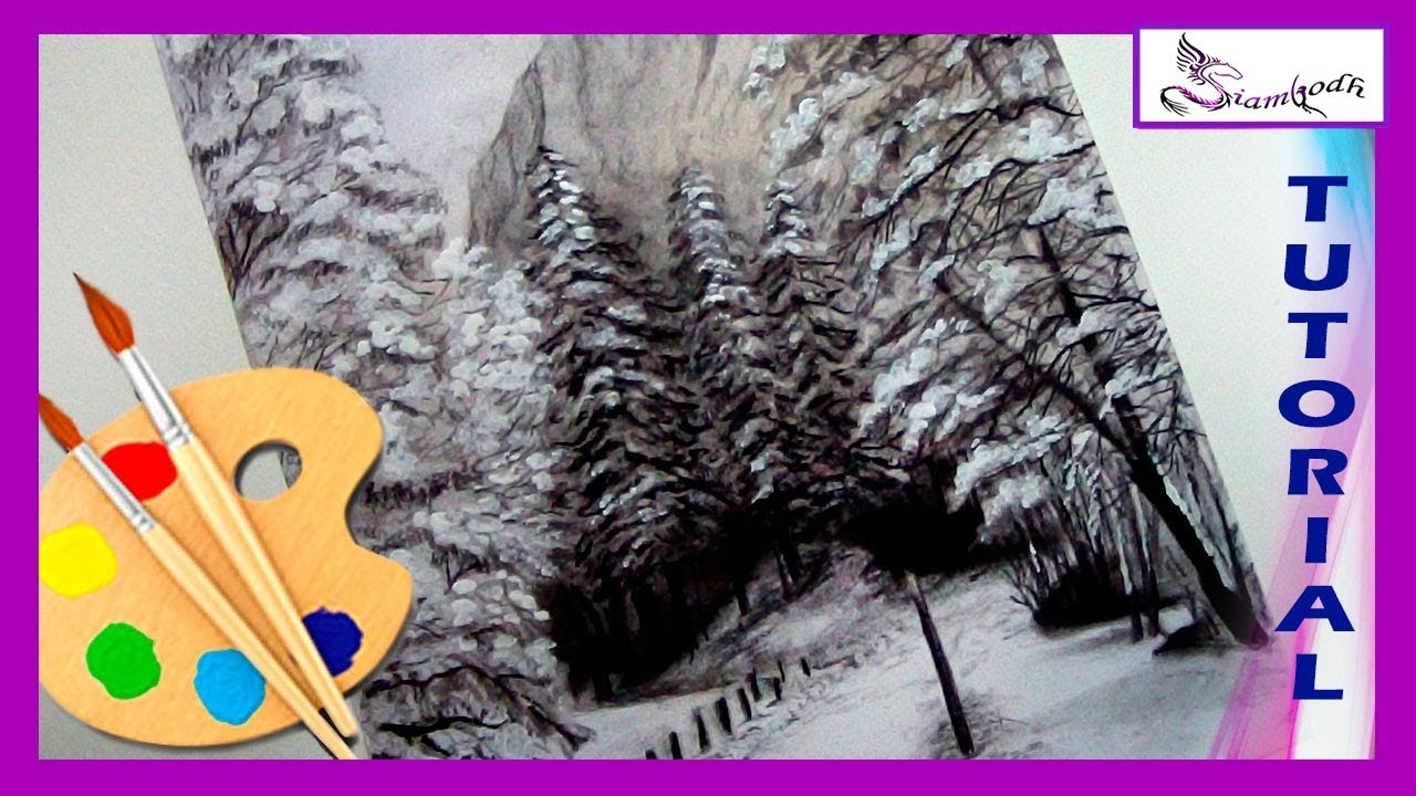 How To Draw A Winter Landscape Mountains Snow Pines Charcoal