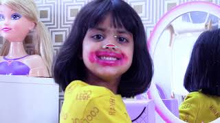 Ashu mess up pretend play with mom makeup