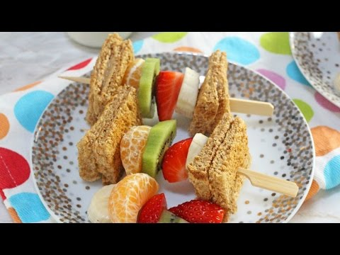 Peanut Butter Toast & Fruit Breakfast Kebabs   Healthy Breakfast for Kids