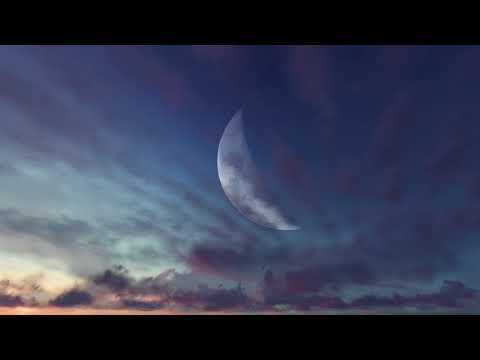 ( CGI 4k Stock Footage )  Halloween Huge Moon Twilight Night Sky Red Purple Clouds Seamless Loop 10