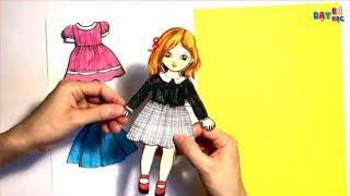 Hướng dẫn thiết kế làm váy cho búp bê giấy 1 | Làm đồ chơi | Dạy bé học