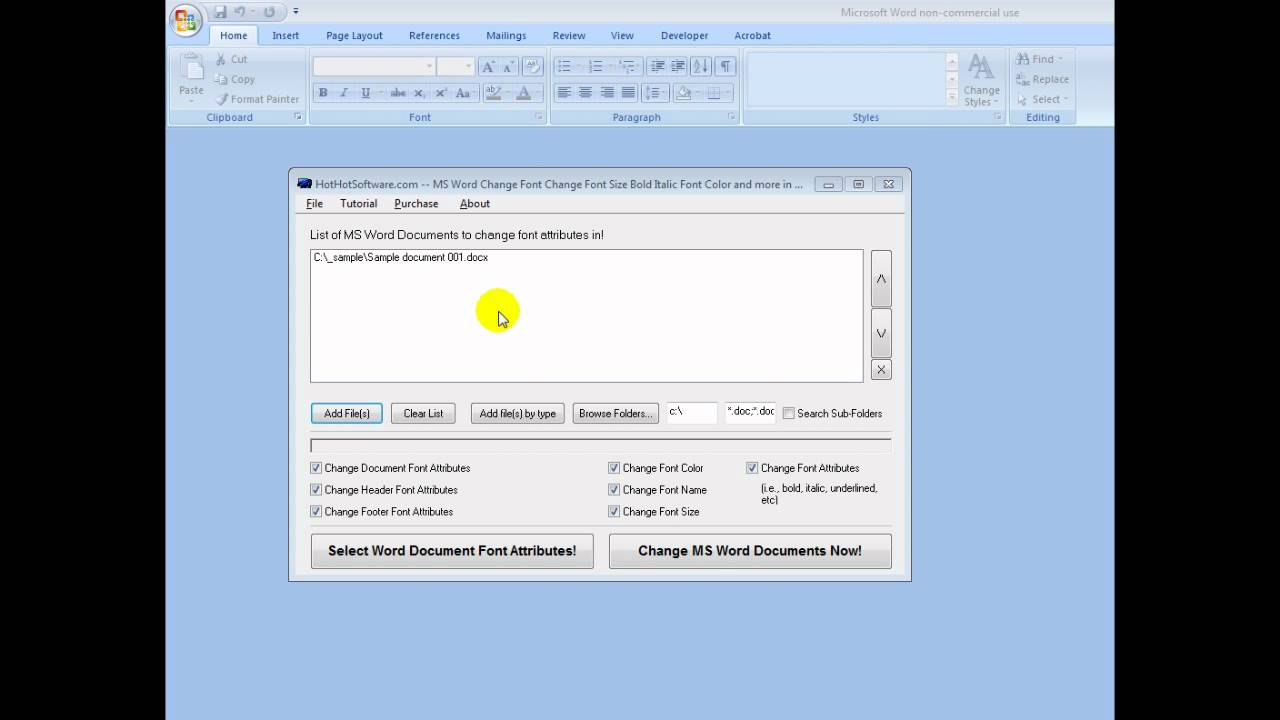 How to change MS Word Font/Document attributes (Size Bold Italic Font Color  and more) in documents