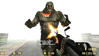 Counter Strike Source - Zombie mod Zombie Horror Boss fight - Online Gameplay on Silent Hill map