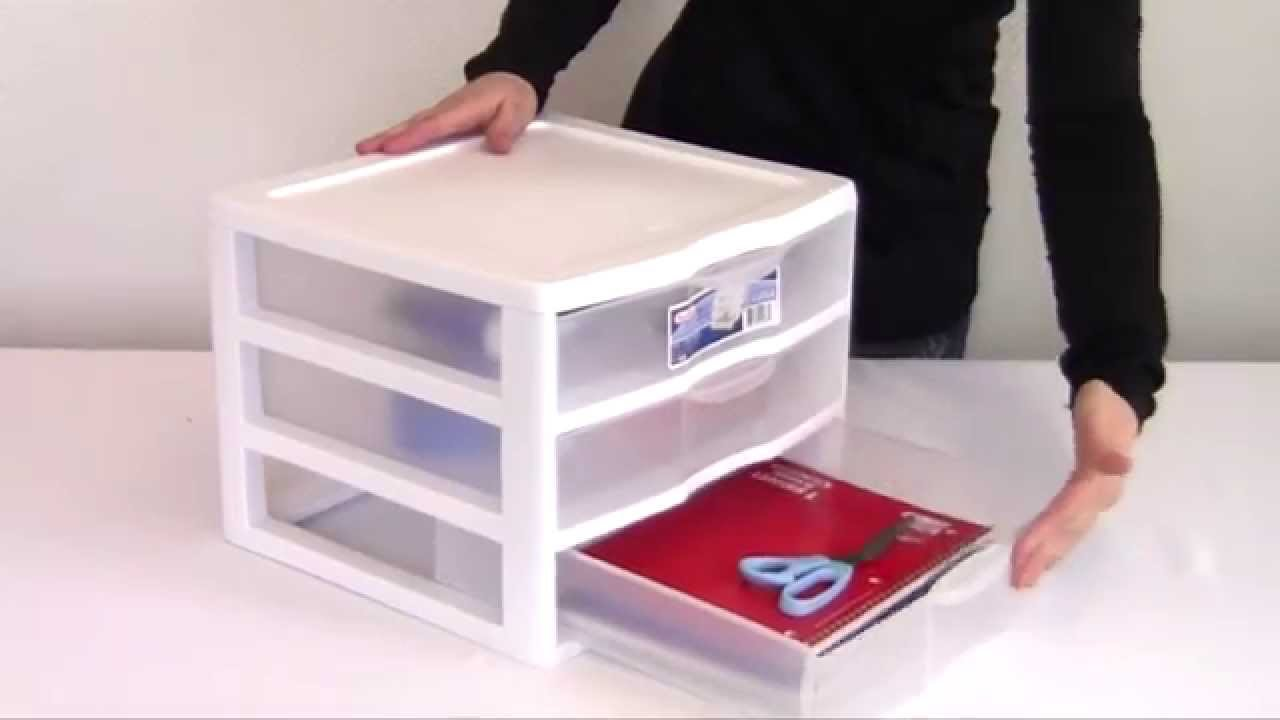 & Sterilite Clearview 3 Drawer White Storage Unit - YouTube