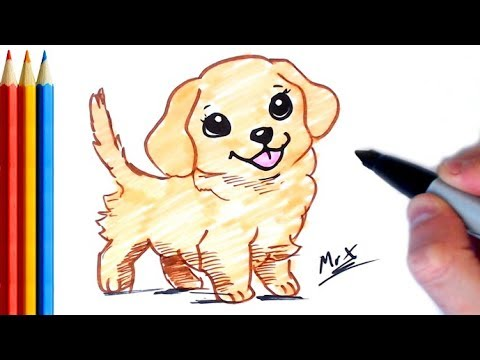 how to draw golden retriever step by step tutorial for kids youtube