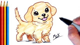 How to Draw Golden Retriever - Step by Step Tutorial For Kids