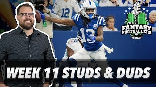 Fantasy Football 2018 - Week 11 Studs & Duds, Rising Stars, Booger in the Paint  - Ep. #653