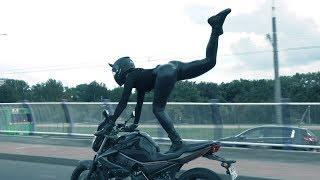 Танцы на мотоцикле прямо на дорогах Минска | Черная пантера