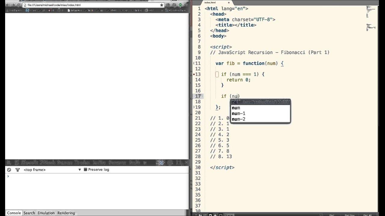 Recursion - Fibonacci Numbers (JavaScript)