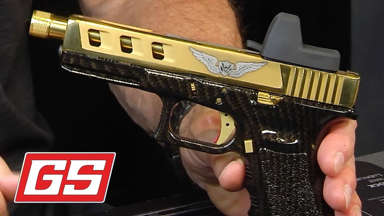 Glock 17 Polished Viper Cut Slide Threaded Barrel Gold Accents