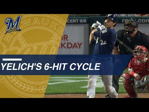 Christian Yelich goes 6-for-6, hits for cycle