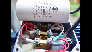 Как просто подключить трехфазный двигатель треугольником и звездой  в сеть 220, через конденсатор.