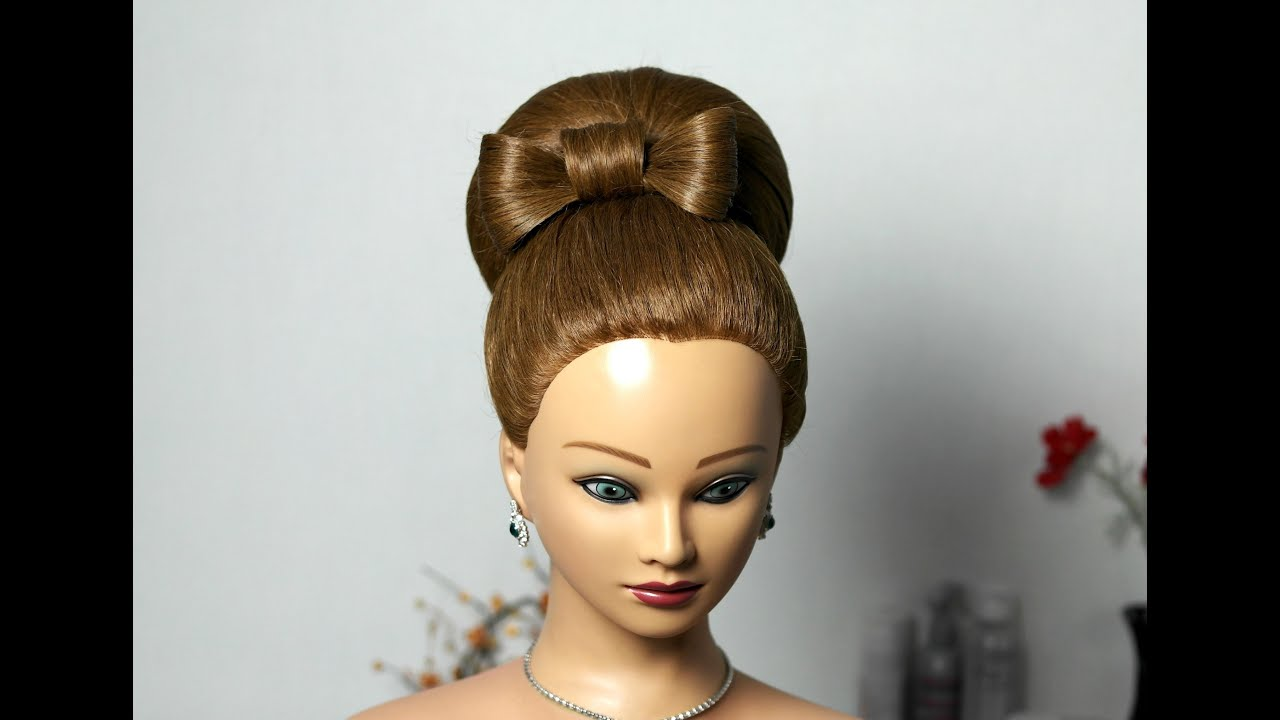 Bun with hair bow for long hair Updo hairstyle