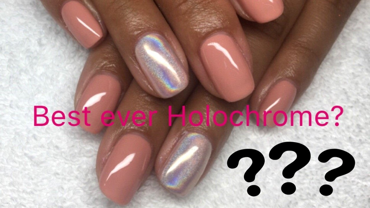 Easy Holographic Gel Nude Nail art Design Tutorial - YouTube