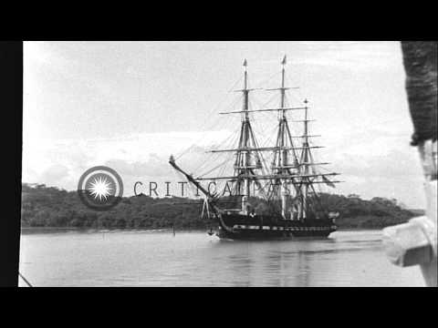 Ship USS Constitution, an ancient frigate, underway in the Panama Canal zone. HD Stock Footage