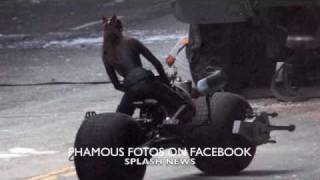 Anne Hathaway looking great in her Catwoman suit on the set of Dark Knight Rises