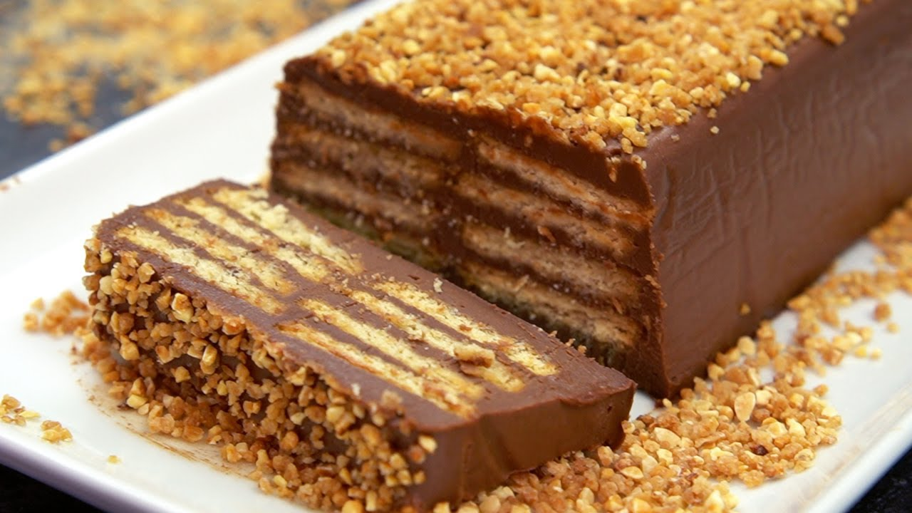 TARTA rápida de CHOCOLATE Y GALLETAS