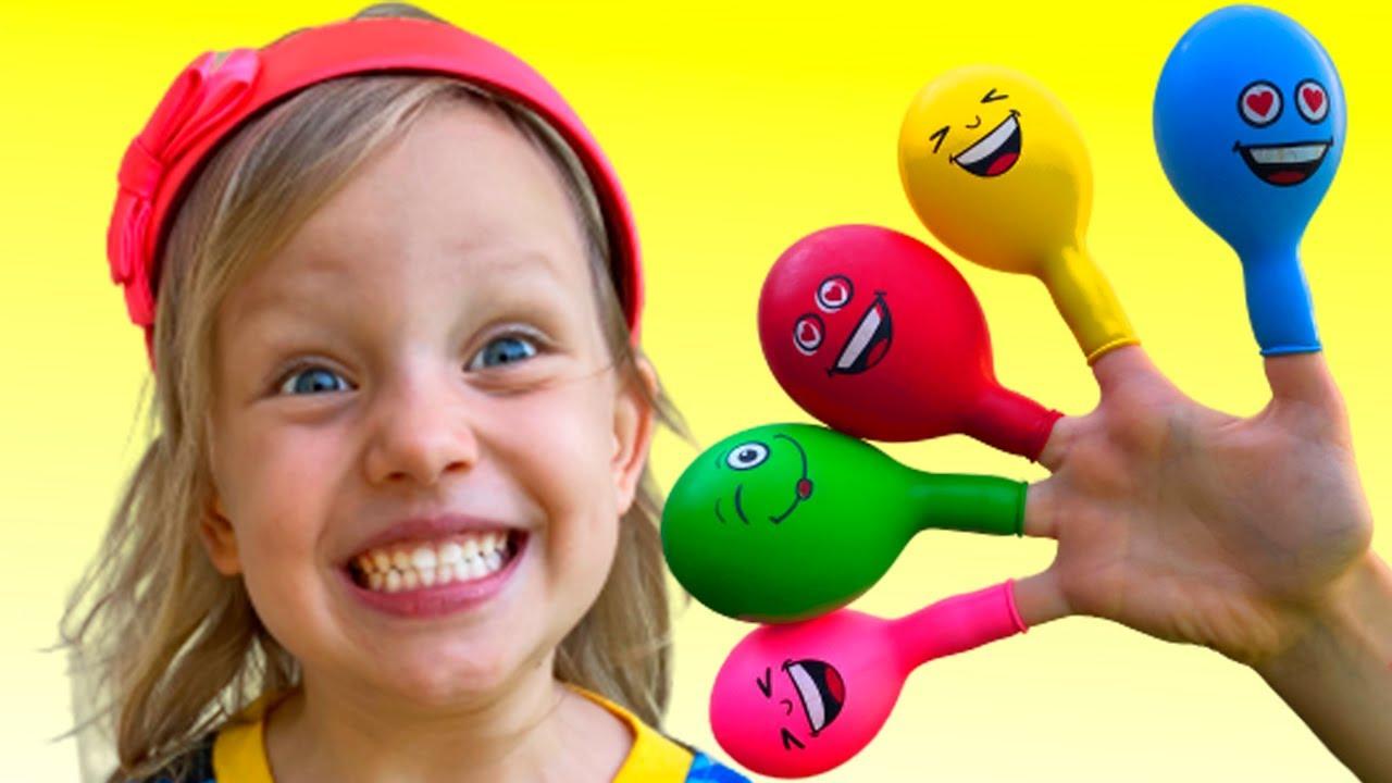 Nastya Pretends to play with Magic balloon - Preschool toddler learn color تعليم الالوان بالانجليزي