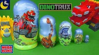 Dinotrux Surprise Nesting Dolls with Mega Contrux Mega Bloks Ton Ton Dozer & Ty Rux Dinosaur Toys!