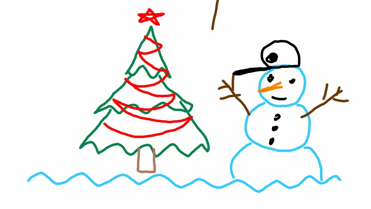 Christmas Tree Easy Drawing : How to draw easy simple christmas tree and snowman using