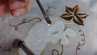 Pintura em Tecido Uvas e Folhas Super Fáceis