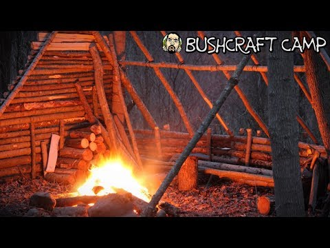 Making a Bushcraft Camp: Fire Pit, Cooking Rock, Raised Bed (Part 4)