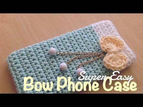 ถักเคสโทรศัพท์ติดโบว์แหวว ๆ  (English Subtiltles/Super Easy Crochet Bow Phone Case)