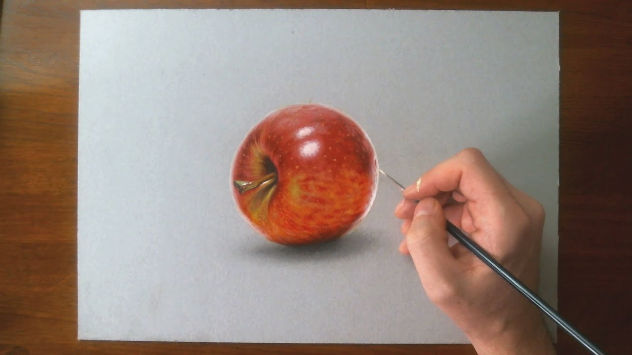 Disegno realistico effetto 3D in time lapse mela rossa