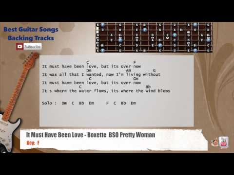 It Must Have Been Love - Roxette (Pretty Woman) Guitar Backing Track with scale, chords and lyrics