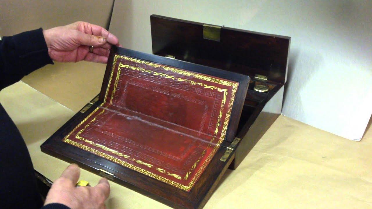 William IV Writing Box/ Lap desk. Mostlyboxes Antiques - William IV Writing Box/ Lap Desk - YouTube