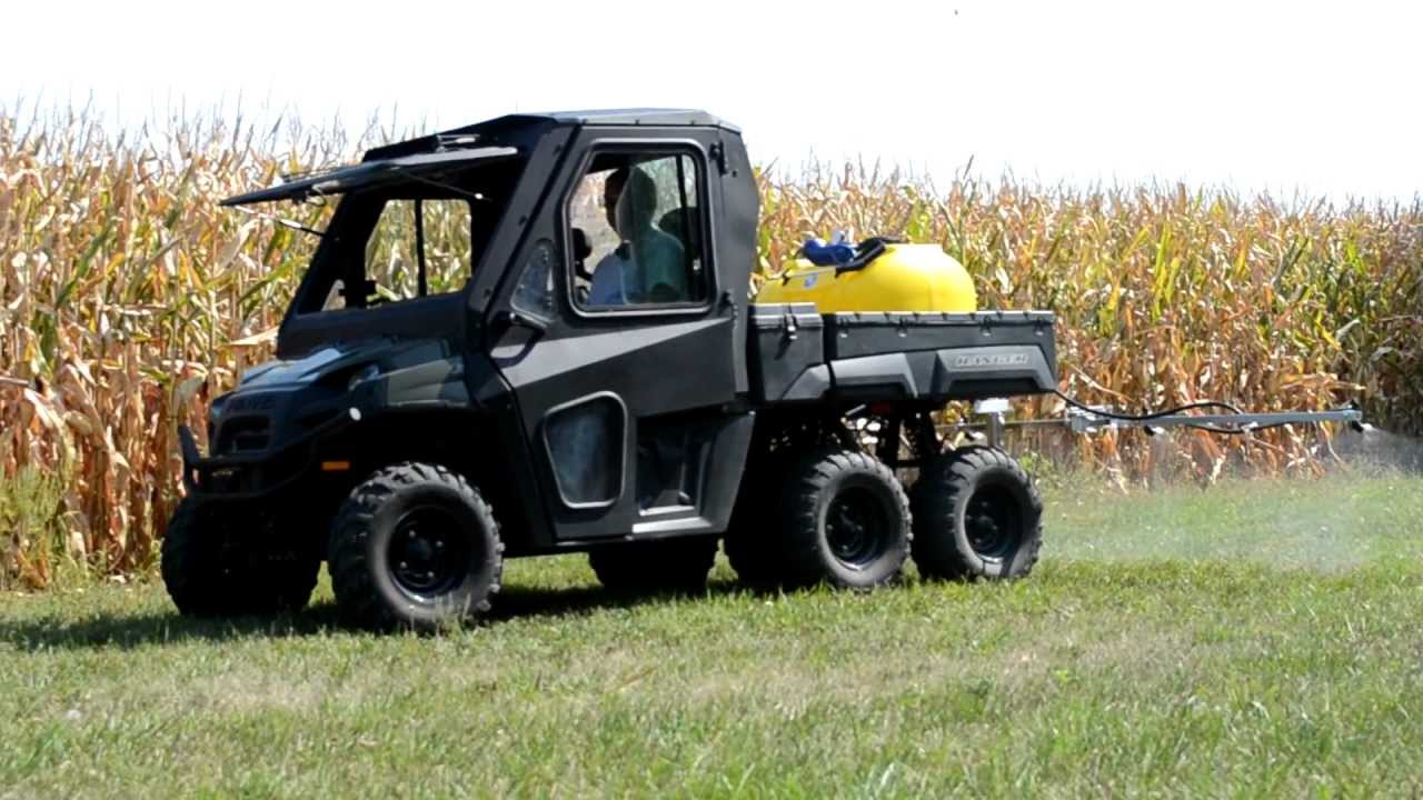pk sprayer on ranger 6 wheel utv with 5 nozzle boom youtube. Black Bedroom Furniture Sets. Home Design Ideas