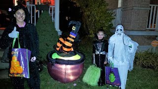 Kids Trick or Treat for Candy! family fun vlog