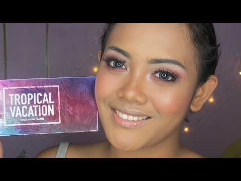 Tropical Vacation Eyeshadow (Focallure) Tutorial + Swatch + Review 'Bahasa Indonesia