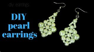 pearl earrings making tutorial. beaded earrings