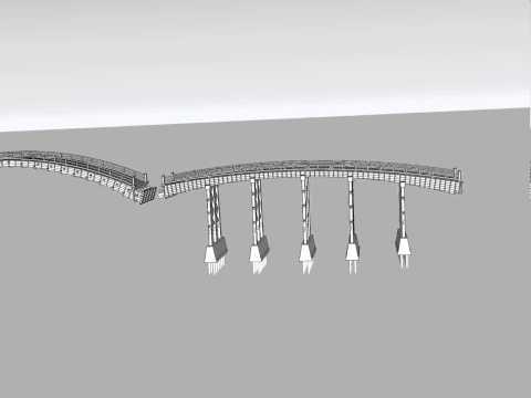 錦帯橋の構造 3DCG(全橋)  Virtual Construction View of Kintaikyo Bridge(The Entire Bridge)