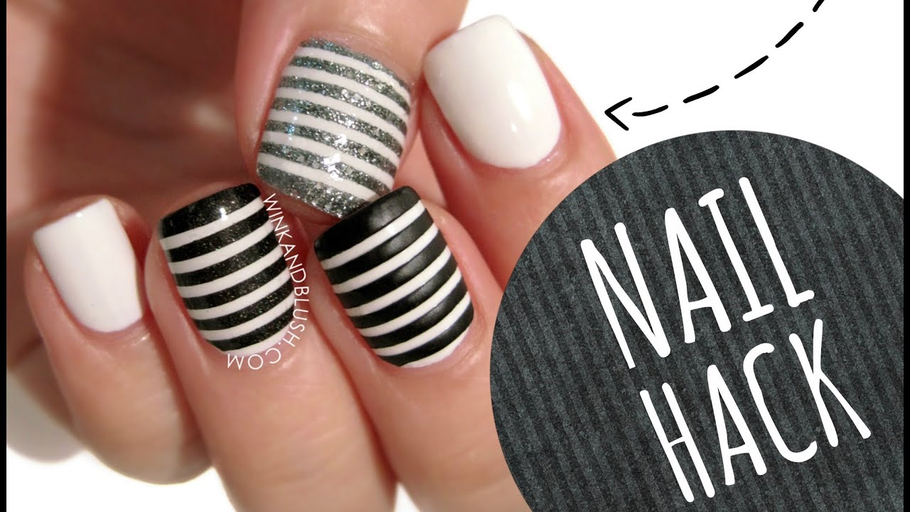 NAIL HACK: Cheat Your Way to PERFECT Stripe Nails!! - YouTube