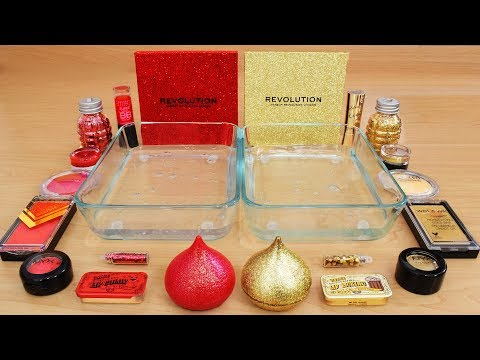 Red Vs Gold - Mixing Makeup Eyeshadow Into Slime! Special Series 73 Satisfying Slime Video