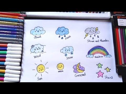 How to draw cloud rainbow sun moon for kids