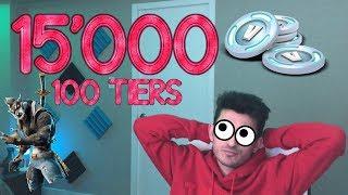 SPENDING 15000 V BUCKS TO BUY 100 TIERS ON FORTNITE SEASON 6 ! TOUS LES SKINS UNLOCKED!!