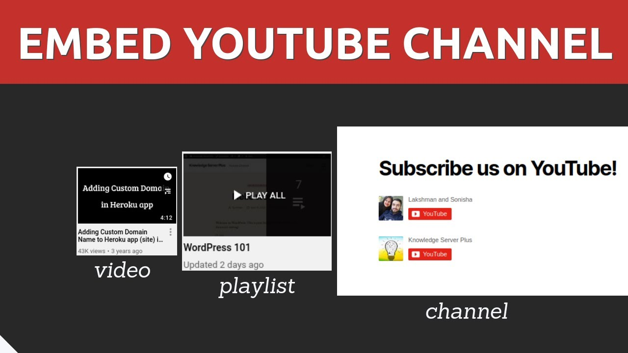 Download Embed Your YouTube Channel to Your Website 2021 - Video, Playlist & Subscribe button